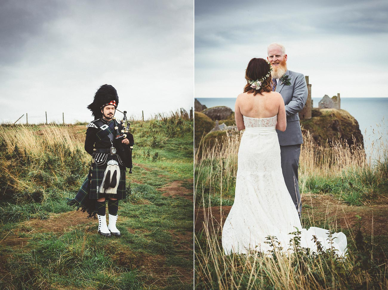 dunnottar castle elopement wedding photographer scotland scottish highlands abderdeenshire aj 0014