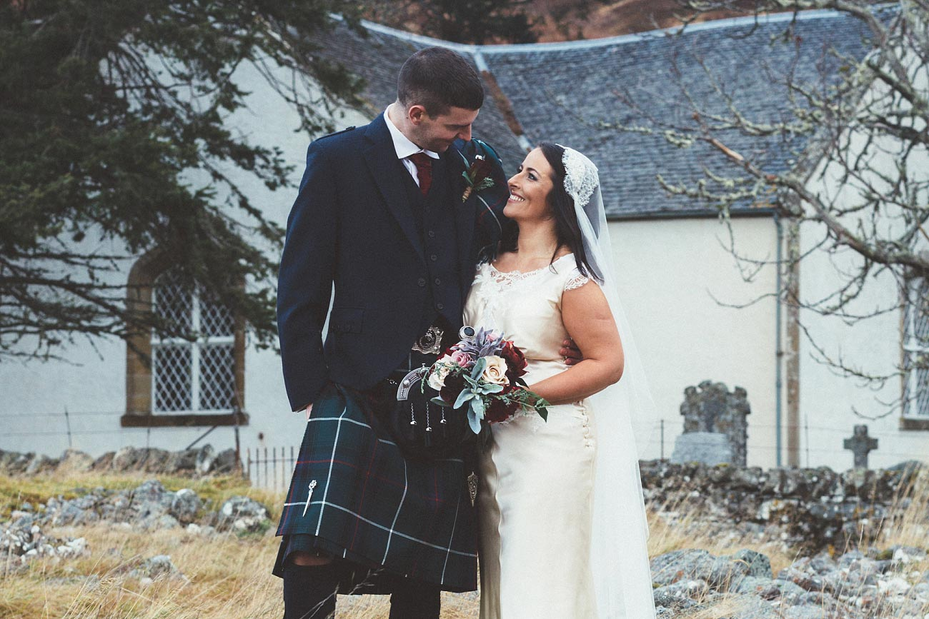 small church wedding Invernessshire scotland scottish highlands Croick 0041