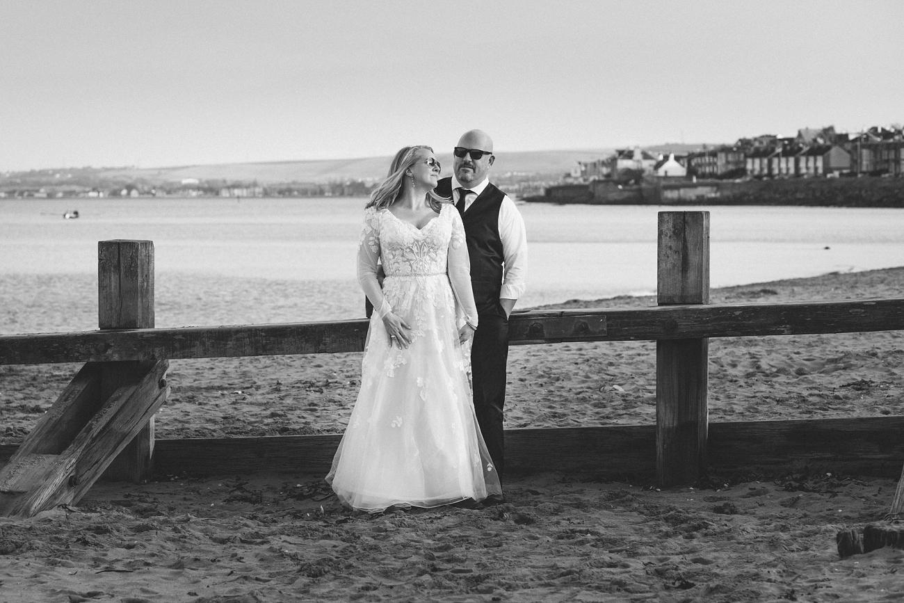black and white edinburgh elopement wedding photography, Portobello Beach