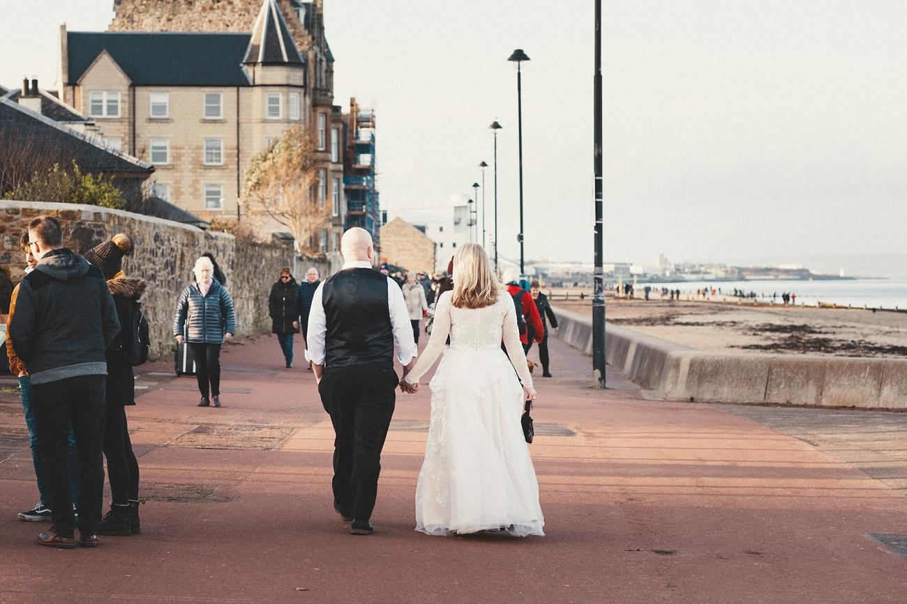 edinburgh elopement wedding, Portobello Beach