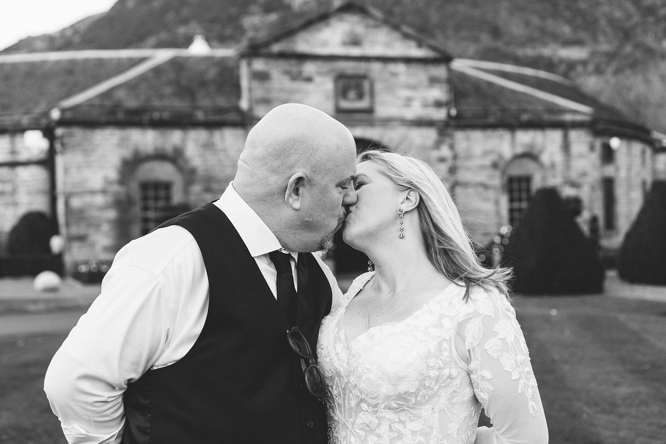 Black and white Prestonfield House christmas wedding photography