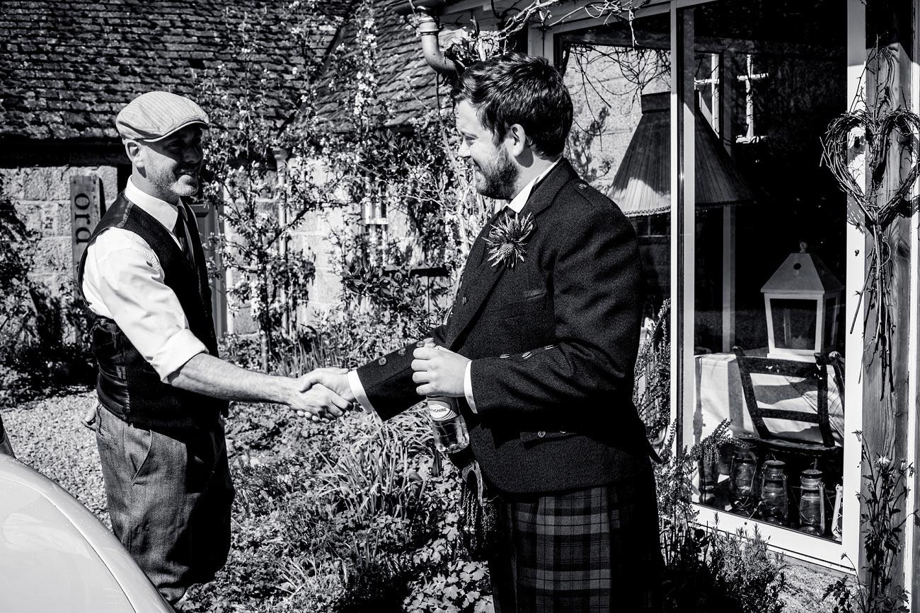 Black and white wedding photograph, scottish highlands