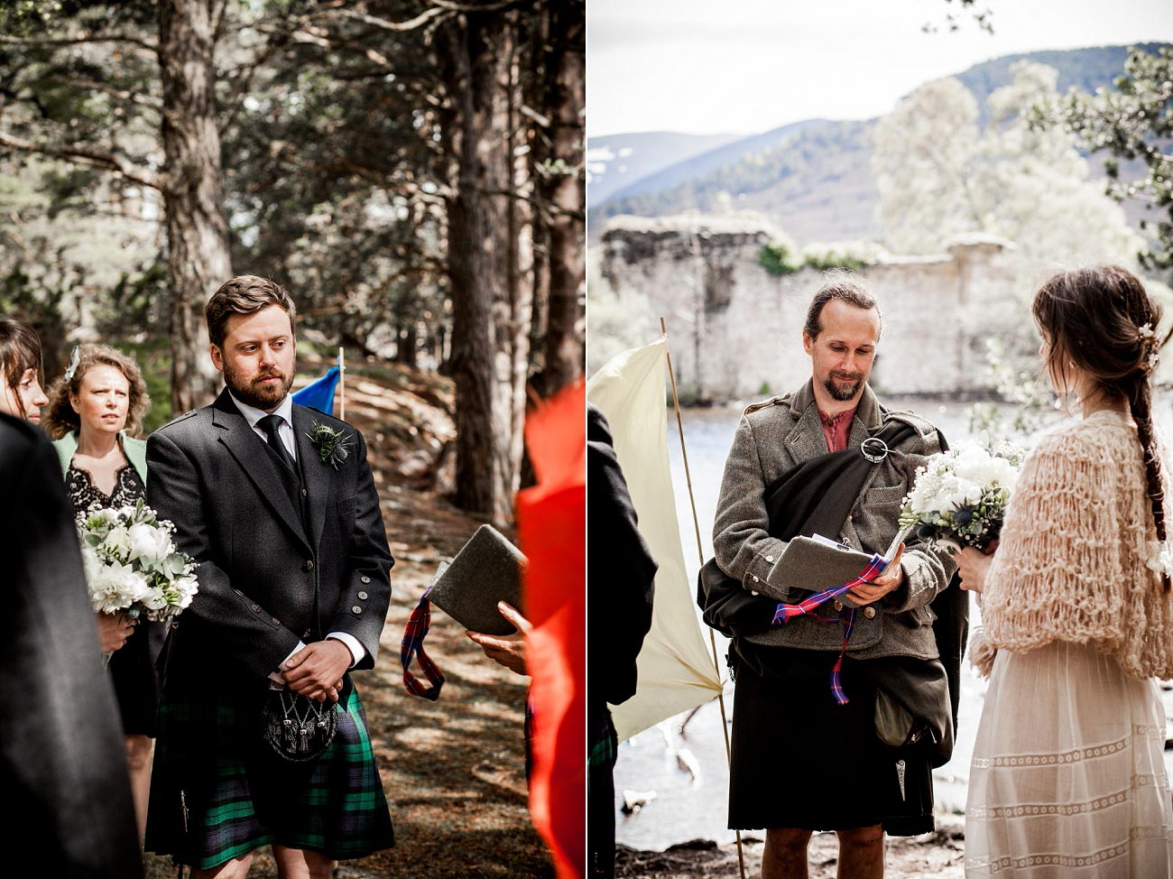 Forest wedding photography, Loch an Eilen Rothiemurchurs, Cairngorms, Scottish Highlands