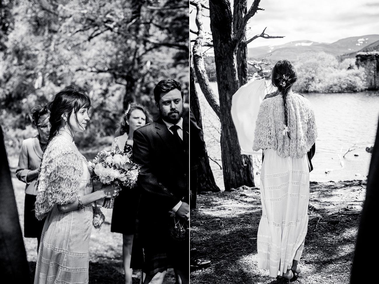 black and white wedding photography, woodland handfast ceremony, Cairngorms, Scottish Highlands