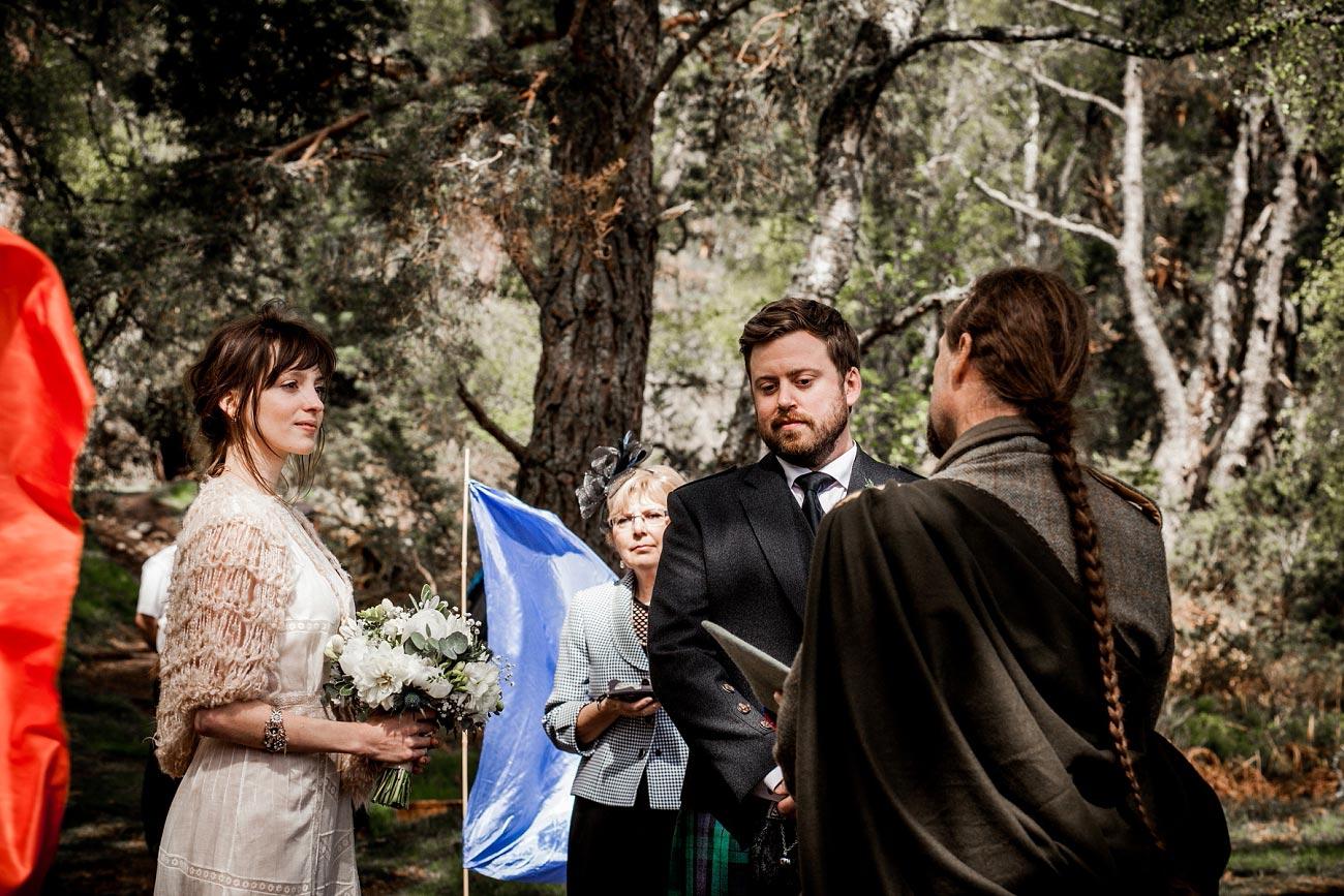wedding photography, woodland handfast ceremony, Cairngorms, Scottish Highlands