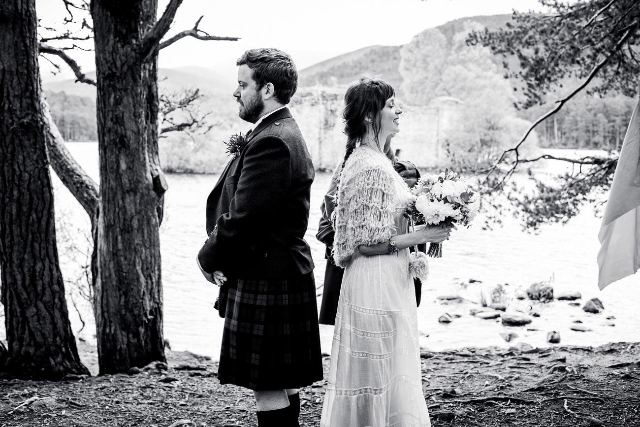 black and white woodland wedding photography scotland