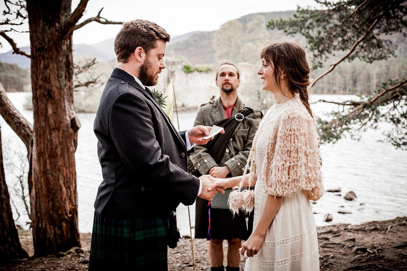Handfast wedding ceremony. Rothiemurchurs, Scottish Highlands