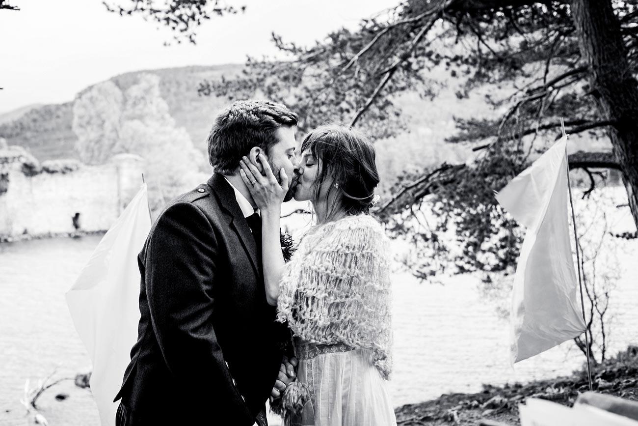 Black and white wedding photography Handfast wedding ceremony. Rothiemurchurs, Scottish Highlands