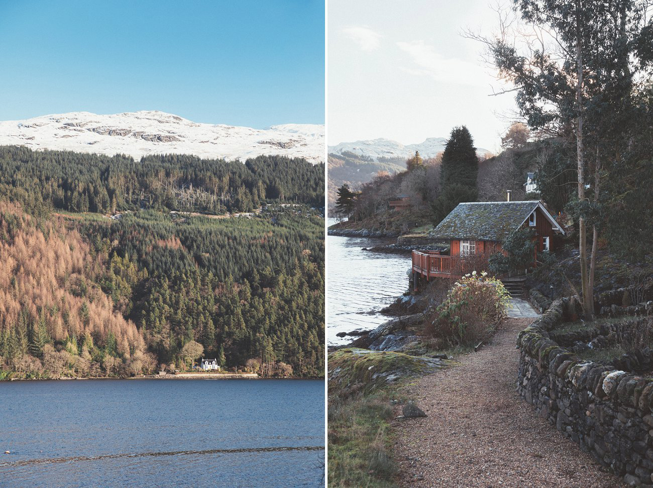 relaxed lodge on loch goil elopement wedding winter scottish highlands 0011