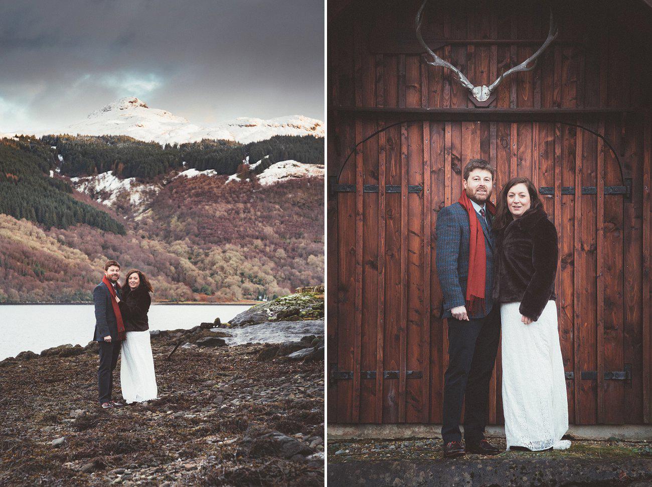 relaxed lodge on loch goil elopement wedding winter scottish highlands 0040