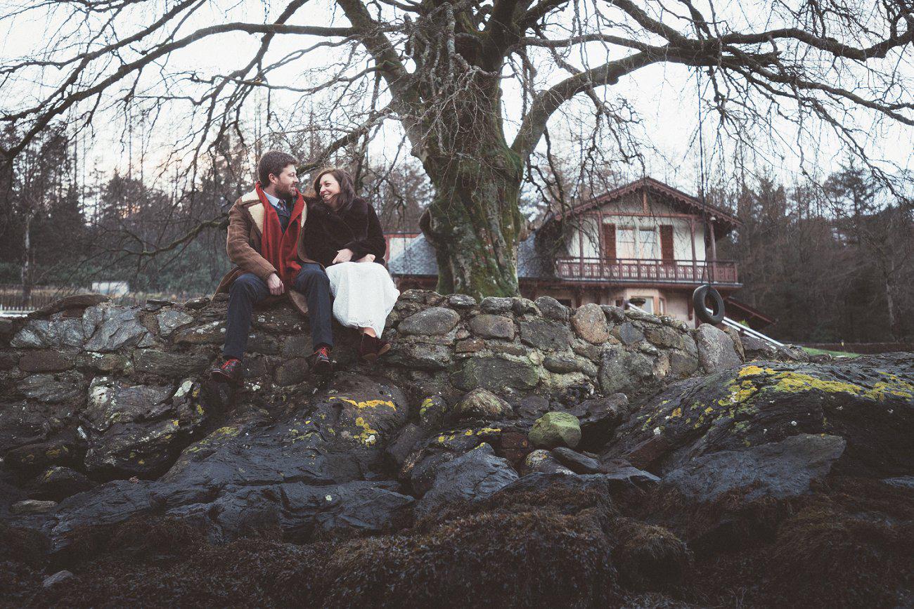 relaxed lodge on loch goil elopement wedding winter scottish highlands 0043