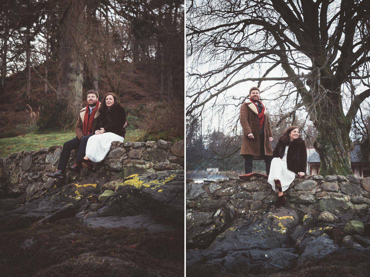 relaxed lodge on loch goil elopement wedding winter scottish highlands 0044