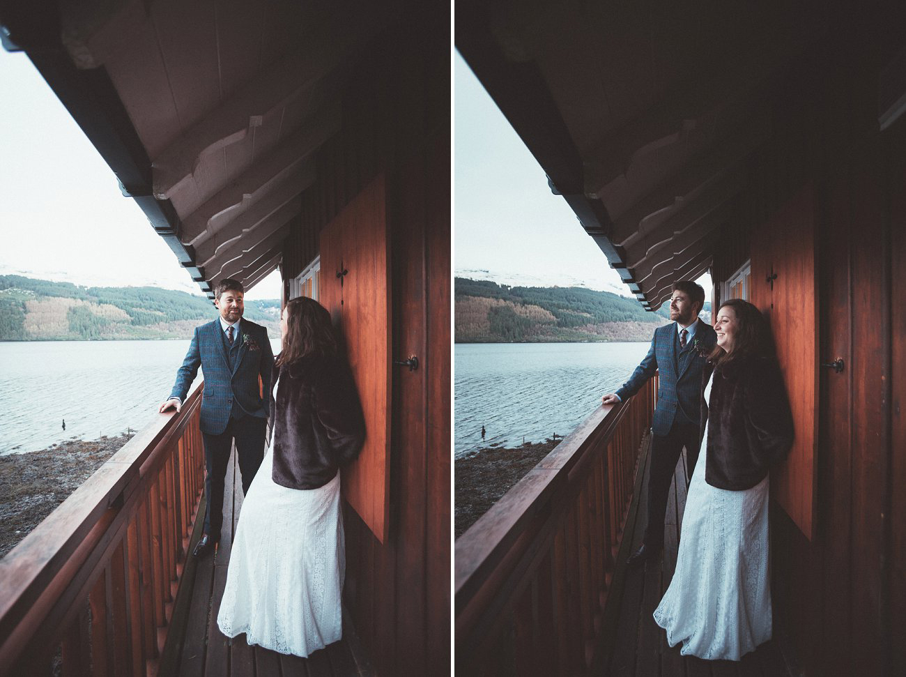 relaxed lodge on loch goil elopement wedding winter scottish highlands 0046