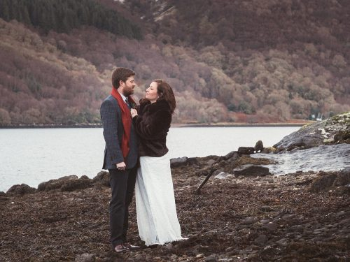 Wintertime Elopement Wedding // Relaxed Lodge on Loch Goil Ceremony