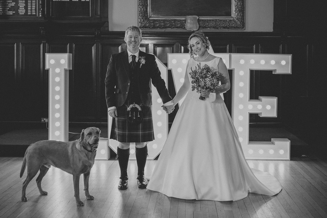 relaxed and natural glasgow elopement wedding trades hall merchant city photographer. black and white wedding photography.